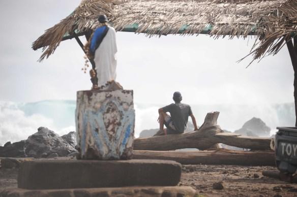 """Swell """"storm"""" do lado cidade de Rapa Nui. Foto:Claudia Penhafiel"""