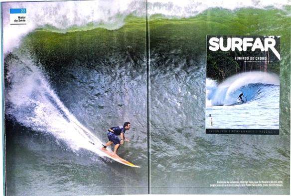 """Rodrigo Koxa na página dupla """"Na Maior da Serie da Revista SURFAR"""" Foto:CamilaNeves"""