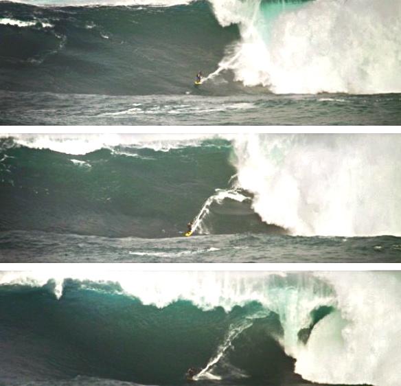 Rodrigo Koxa em sequencia na maior onda já surfada da América do sul. Fotos:Akiwas