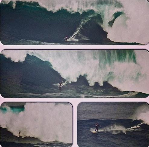 Rodrigo koxa em sequencia no final da onda gigante surfada no Chile