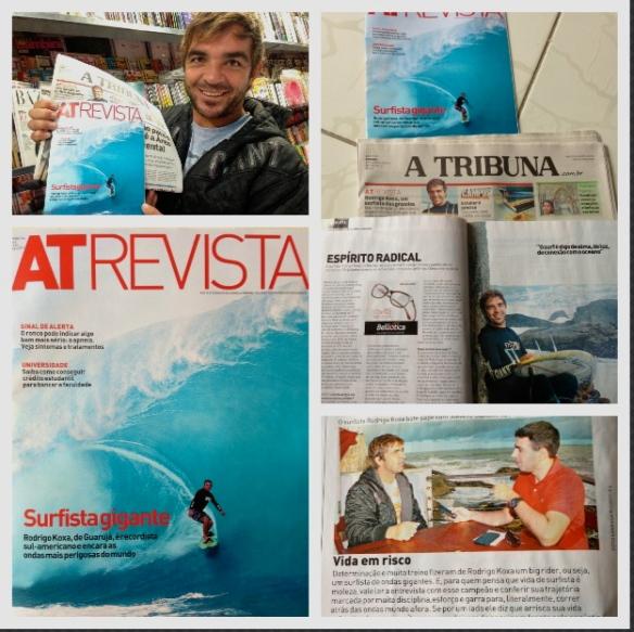 Capa do JORNAL ATRIBUNA e da REVISTA AT REVISTA com o swell surfado em Teahupoo nesse último mês de maio de 2013.