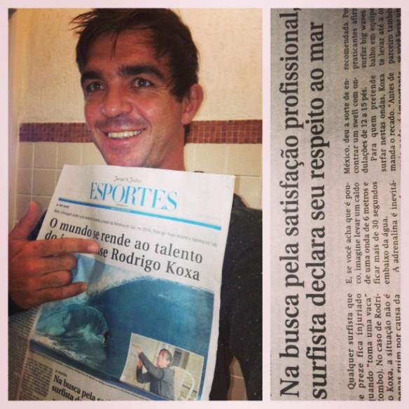 """Rodrigo Koxa em pauta no jornal de esportes """"News"""" após voltar do Tahiti."""