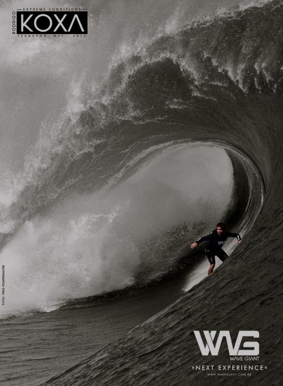 Rodrigo Koxa em anúncio Wave Giant no TEAHUPOO 2013. Foto:Fred Pompermayer