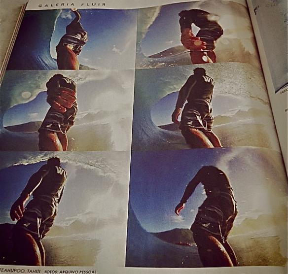 Rodrigo Koxa em página na revista Fluir de junho 2013 com sua câmera XTRAX.