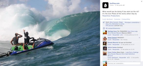 Dupla Rodrigo Koxa e Vitor Faria reverenciando a onda de Teahupoo. Foto: Power Line Productions/ Surfline.
