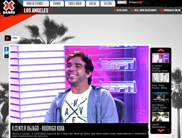 Rodrigo Koxa ao vivo no segundo bloco do programa Xcenter da ESPN 6/8/2013
