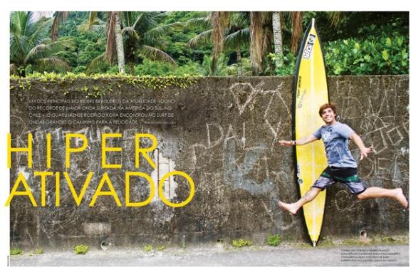 Rodrigo Koxa em matéria de perfil da revista Fluir sendo divulgado como o detentor do recorde da maior onda surfada da América do sul. Foto:Silvinha
