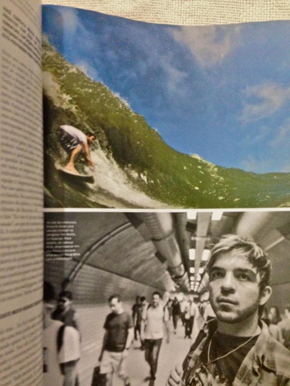 Rodrigo Koxa em página dupla na Revista Hardcore em outubro de 2013. Acima laje The Rock e abaixo no metro de São Paulo a caminho da redação da Hardcore. Fotos: Rafaski