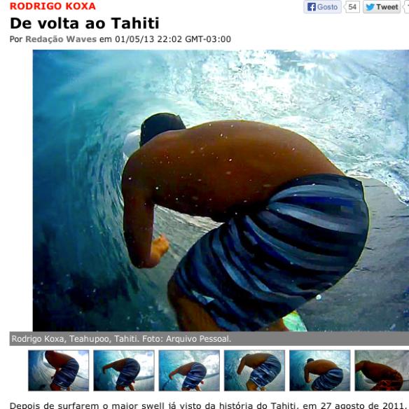 Rodrigo Koxa no site waves pegando tubos no Tahiti com sua câmera XTRAX