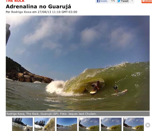 Rodrigo koxa na capa do waves surfando a laje The Rock no Guarujá. Fotos: jacó