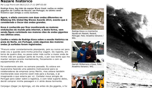 Rodrigo Koxa em depoimento do swell histórico no site waves.