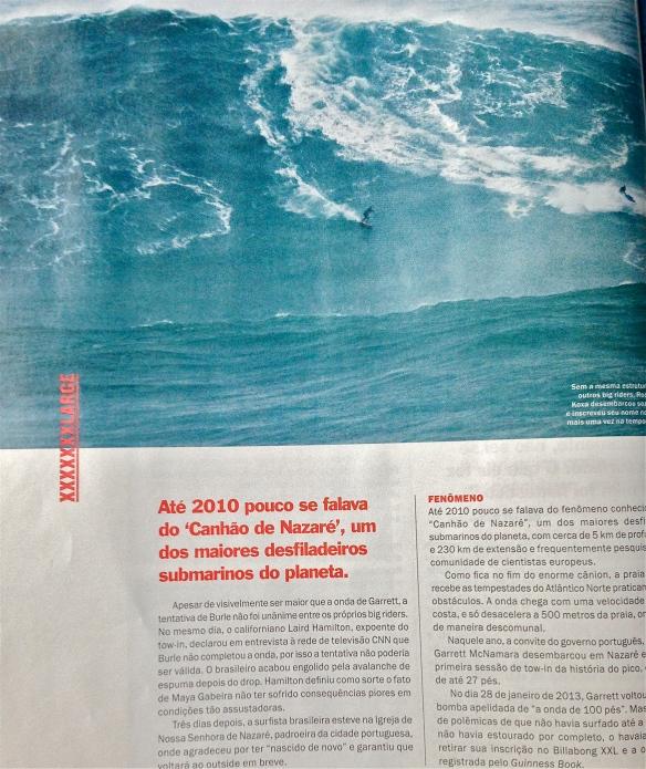 Rodrigo Koxa em página na revista Hardcore de novembro surfando a onda de Nazaré, em Portugal. Foto: Anselmo Venansi