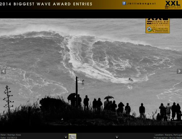 Mais uma foto do Rodrigo Koxa concorrendo ao XXL biggest Wave em Nazaré, Portugal. Foto: Bruno Aleixo