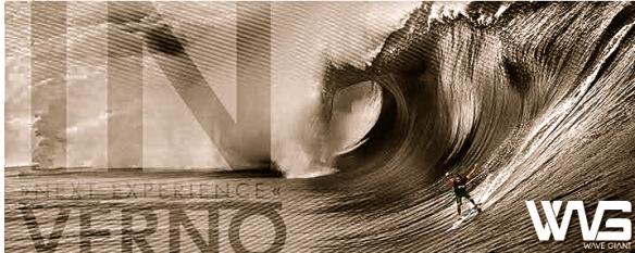 """Arte da página dupla que saiu na revista Fluir de fevereiro 2013 com o anúncio Wave Giant """"New Experience"""". Foto: fred Pompermayer"""